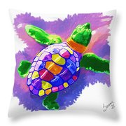 Colorful Turtle Throw Pillow
