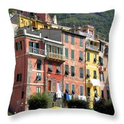 Colorful Vernazza Throw Pillow
