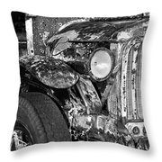 Colorful Vintage Car In Black And White Throw Pillow
