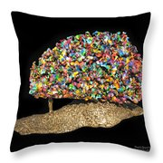 Colorful Welded Steel Encaustic On Wood Sculpture Throw Pillow