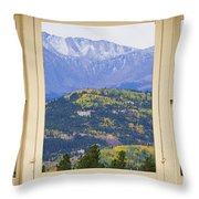 Colorful Rocky Mountain Autumn Picture Window View Throw Pillow