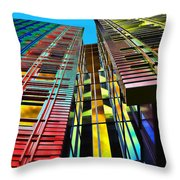 Colors In The City With Clouds Throw Pillow