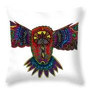 Coloured Owl Throw Pillow by Karen Elzinga