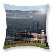 Columbia River Gorge Sternwheeler Throw Pillow