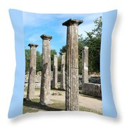 Columns At Olympia Greece Throw Pillow by Eva Kaufman