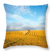 Combine Harvesting A Wheat Field Throw Pillow