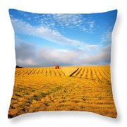 Combine Harvesting, Wheat, Ireland Throw Pillow