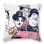 Comedians In Model T Throw Pillow