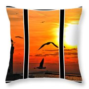 Coming Home Sunset Triptych Series Throw Pillow