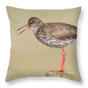Common Redshank Tringa Totanus Calling Throw Pillow