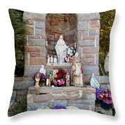 Comparison Mother Mary Shrine Throw Pillow
