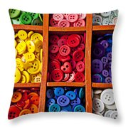 Compartments Full Of Buttons Throw Pillow by Garry Gay
