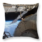 Components Of The International Space Throw Pillow by Stocktrek Images