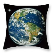 Composite Image Of Whole Earth Blue Throw Pillow