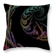 Computer Generated Abstract Fractal Flame Black Modern Art Throw Pillow