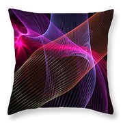 Computer Generated Blue Pink Abstract Fractal Flame Modern Art Throw Pillow