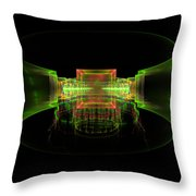 Computer Generated Green 3d Abstract Fractal Flame Art Throw Pillow