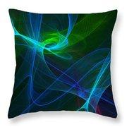 Computer Generated Green Blue Abstract Fractal Flame Modern Art Throw Pillow