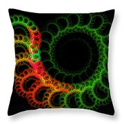 Computer Generated Green Red Abstract Fractal Flame Modern Art Throw Pillow