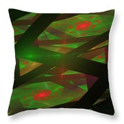 Computer Generated Green Triangles Abstract Fractal Flame Abstract Art Throw Pillow