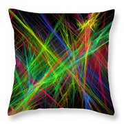 Computer Generated Lines Abstract Fractal Flame Black Background Throw Pillow