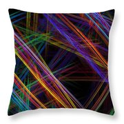 Computer Generated Lines Abstract Fractal Flame Modern Art Throw Pillow