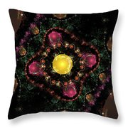 Computer Generated Pink Green Abstract Fractal Flame Black Background Throw Pillow