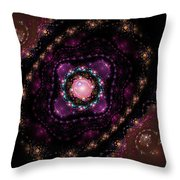 Computer Generated Pink Magenta Abstract Fractal Flame Black Background Throw Pillow