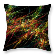 Computer Generated Red Green Abstract Fractal Flame Black Background Throw Pillow