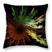Computer Generated Red Yellow Green Abstract Fractal Flame Black Throw Pillow