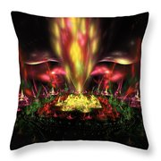 Computer Generated Red Yellow Green Abstract Fractal Flame Throw Pillow