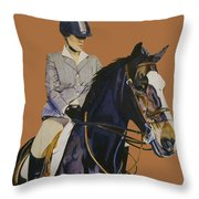 Concentration - Hunter Jumper Horse And Rider Throw Pillow