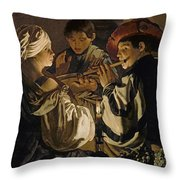 Concert Throw Pillow by Hendrick Ter Brugghen