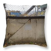 Concrete And Rusty Fence Throw Pillow