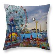 Coney Island Amusements Throw Pillow
