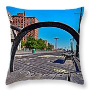 Coney Island Bench View Throw Pillow