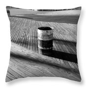 Coney Island Boardwalk In Black And White Throw Pillow