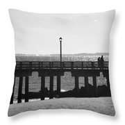 Coney Island Coast In Black And White Throw Pillow