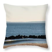 Coney Island Coastline Throw Pillow