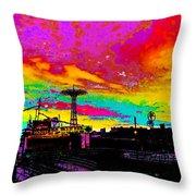 Coney Island In Neon B Flat Minor Throw Pillow