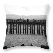 Coney Island Pier In Black And White Throw Pillow