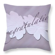 Congratulations Greeting Card - New Guinea Impatiens Throw Pillow