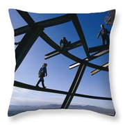 Construction Workers On Beams Throw Pillow
