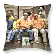 Construction Workers One World Trade Center Throw Pillow