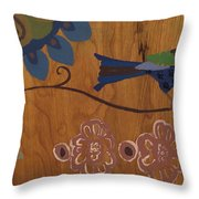 Contemporary Whimsical Bird On A Wire In Pastel-like Colors With Flowers And Dragonfly Throw Pillow