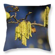 Contorted Hazel Catkins Throw Pillow