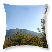 Conway Scenic Railroad  - Longtrack View Throw Pillow by Geoffrey Bolte