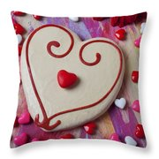 Cookie And Candy Hearts Throw Pillow