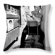 Cool Alley Cat Bw Palm Springs Throw Pillow