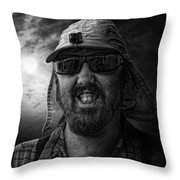 Cool Hat Monochrome Throw Pillow